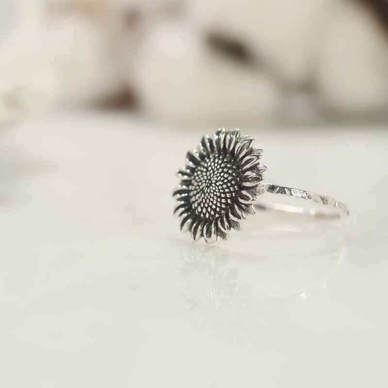 sunflower nature statement ring