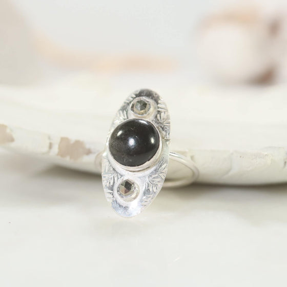 golden obsidian pyrite ring