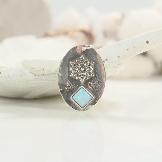 mandala fire opal necklace