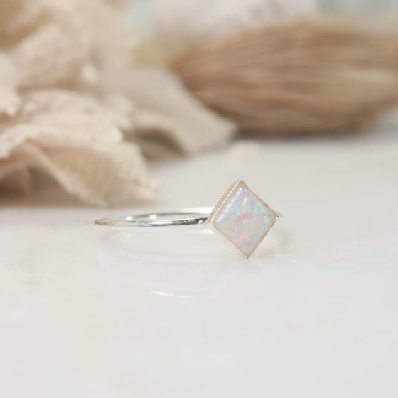 square fire opal ring