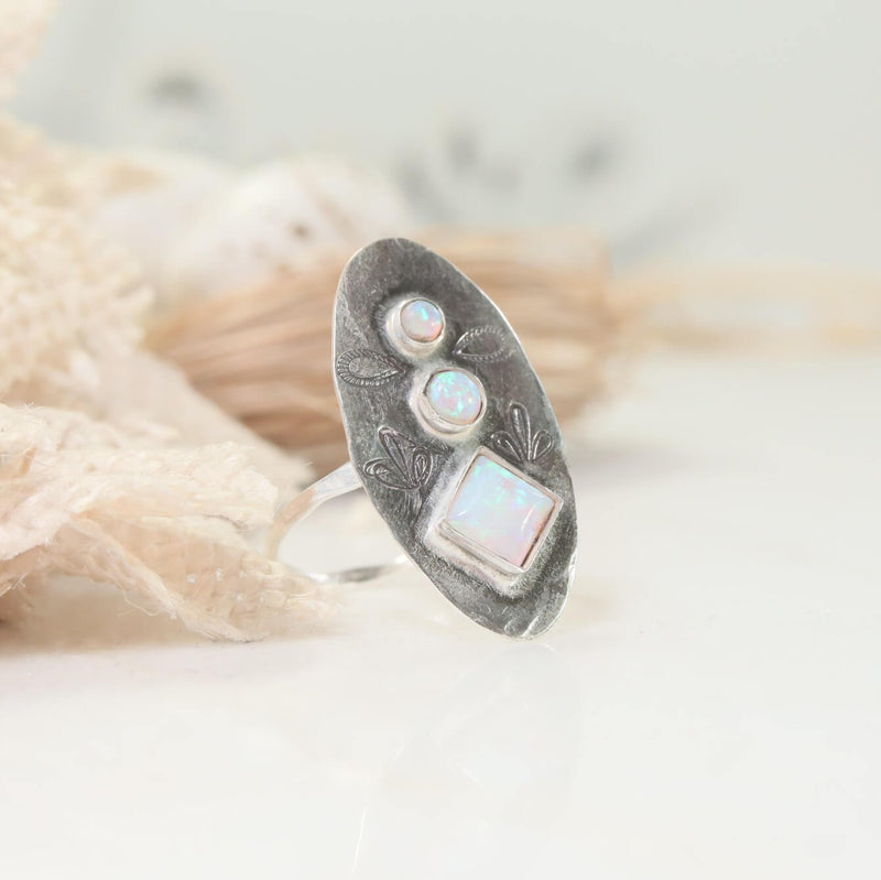 face long fire opal statement ring