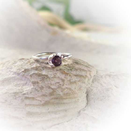 Silver Nose Ring Endless Purple Cubic Zirconia