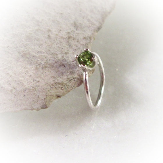Silver Nose Ring Endless Green Cubic Zirconia