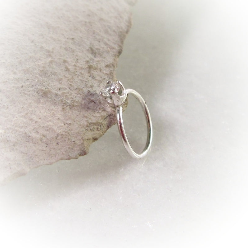 Silver Nose Ring Endless White Cubic Zirconia