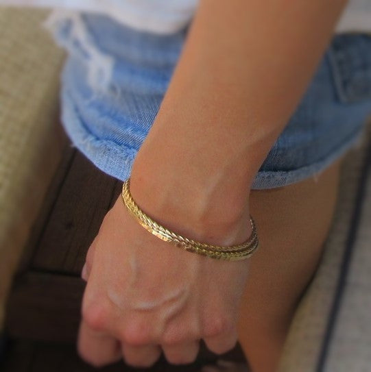 Bangle Bracelet Gold Hammered