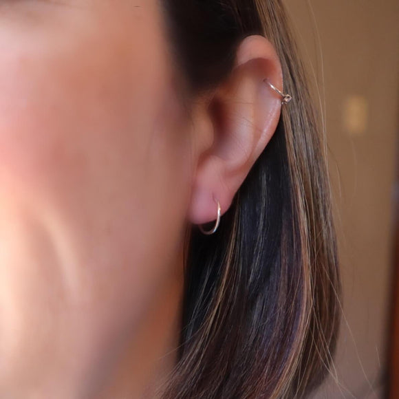 plain endless cartilage earrings silver, gold, pink gold