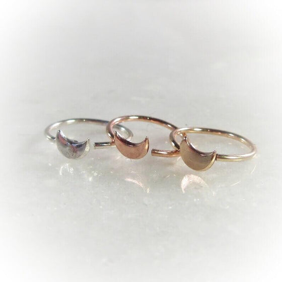 crescent moon nose ring in silver, gold and pink gold