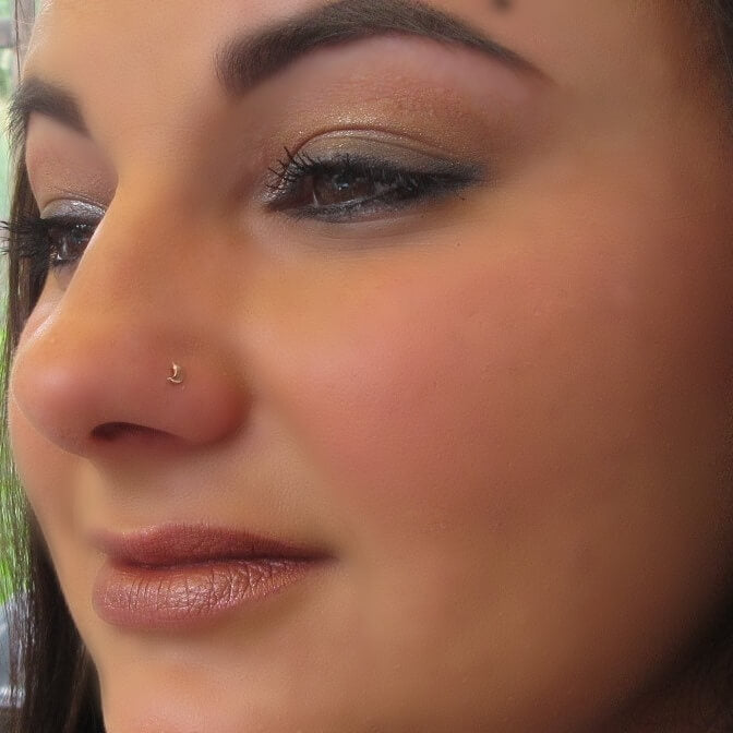 pink gold crescent moon nose stud