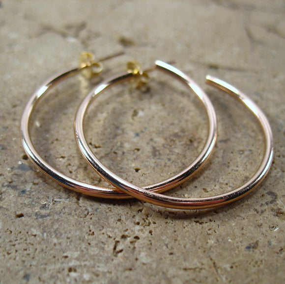 Hoop Earrings Pink Gold Plain