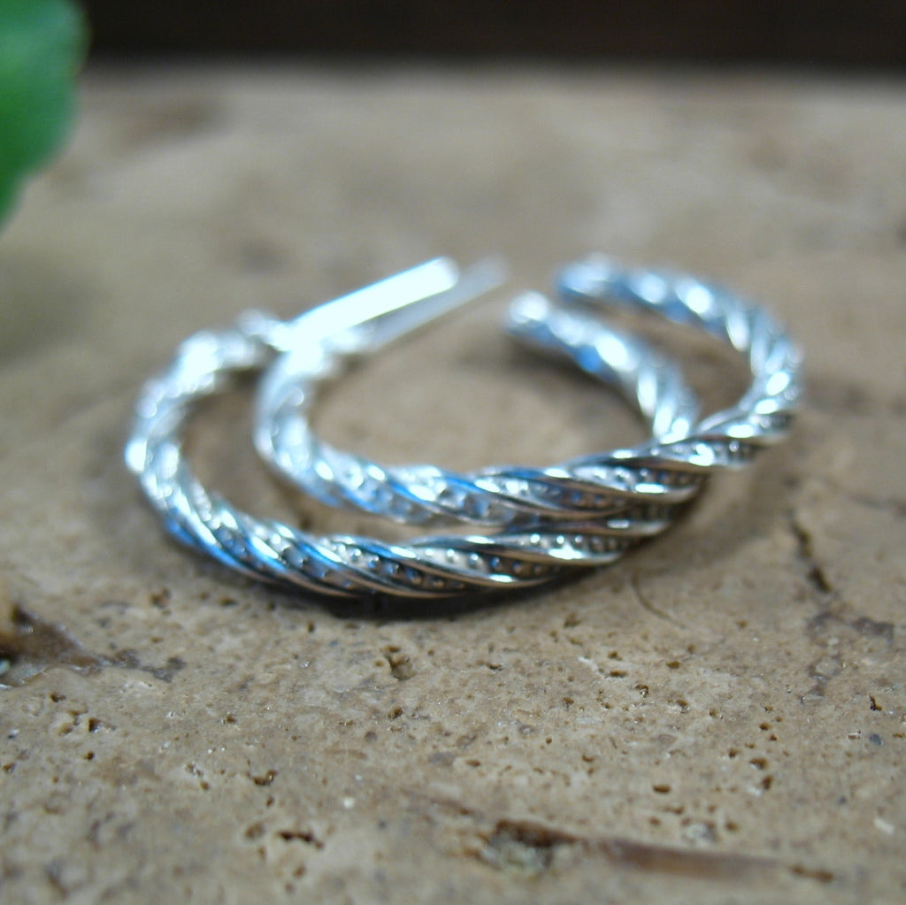 Hoop Earrings Sterling Silver Pattern Twist