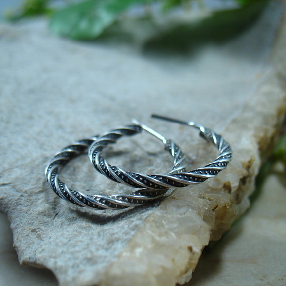 Hoop Earrings Sterling Silver Oxidized Pattern Twist