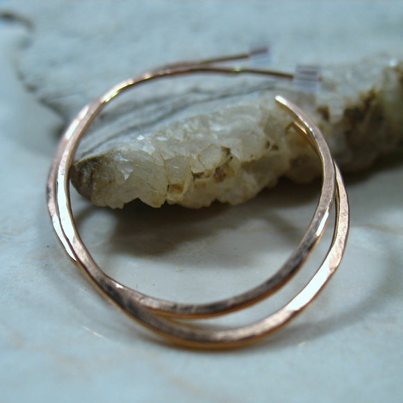 Hoop Earrings Pink Gold Oval Hammered