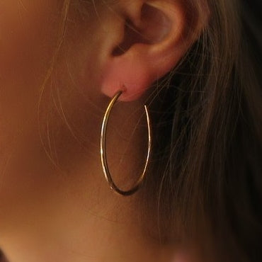 Hoop Earrings Pink Gold Oval Plain