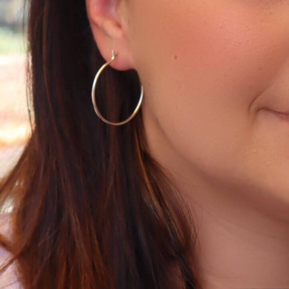 silver, gold and pink gold post hoop earrings