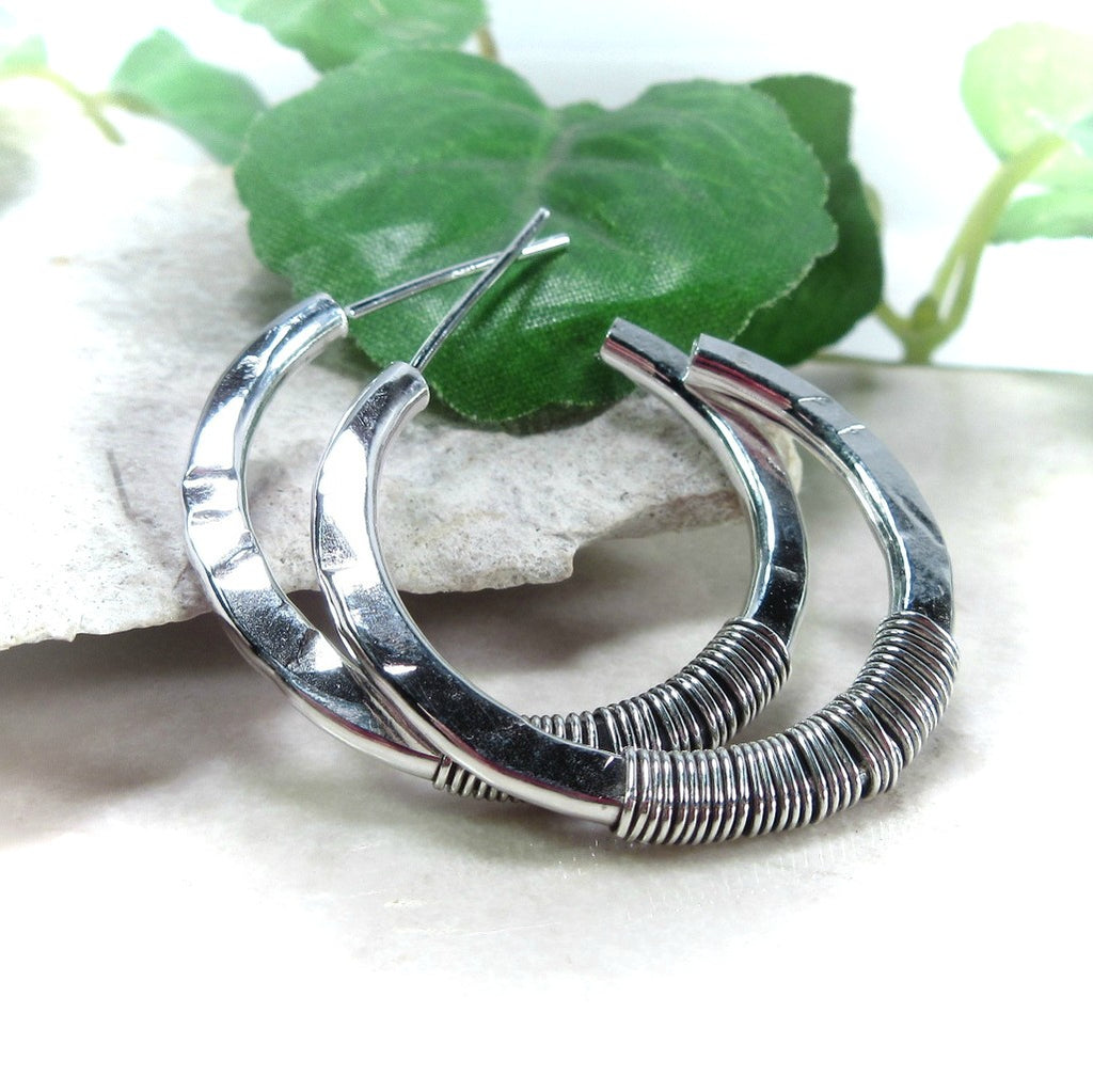 Hoop Earrings Sterling Silver Hammered with Oxidized Wrap