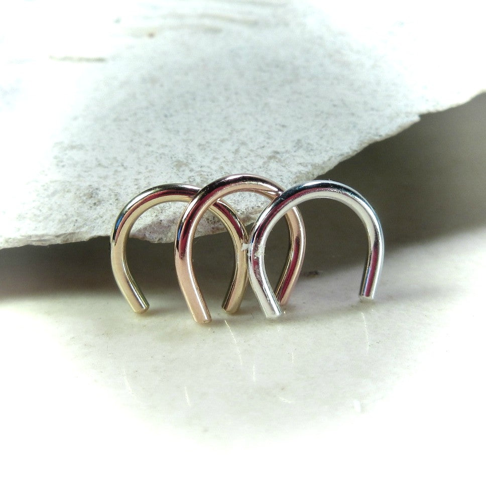 septum retainers in silver, gold and pink gold