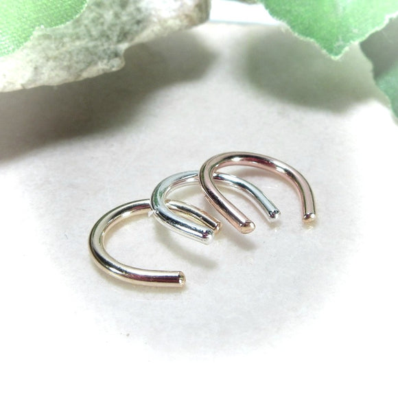 Septum Retainers 16 Gauge Gold, Silver or Pink Gold