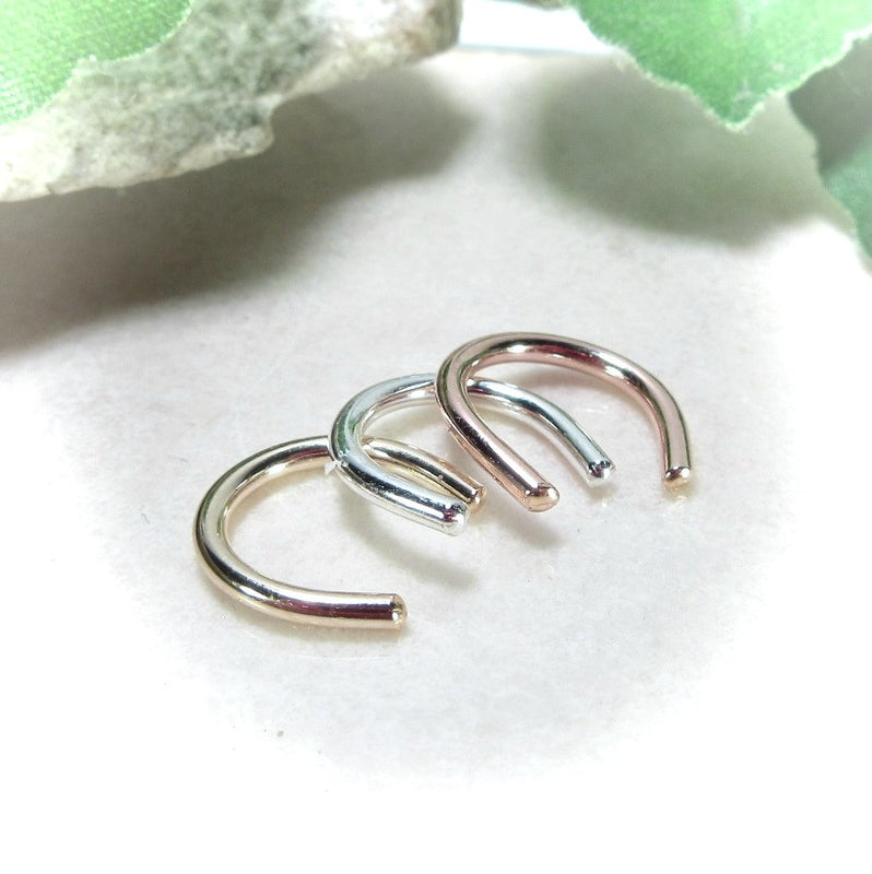 silver gold and pink gold septum retainers
