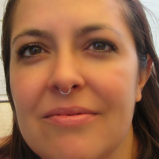 septum ring face hammered silver, gold, pink gold