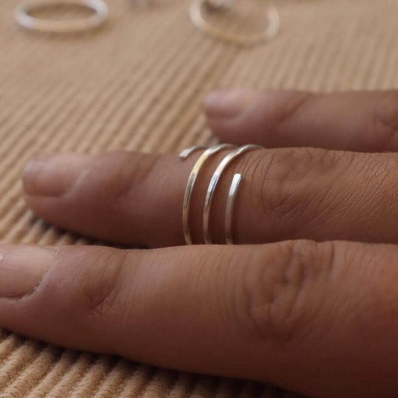 spiral stacking ring silver, gold, pink gold