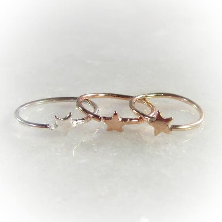 tiny star nose ring in silver, gold and pink gold