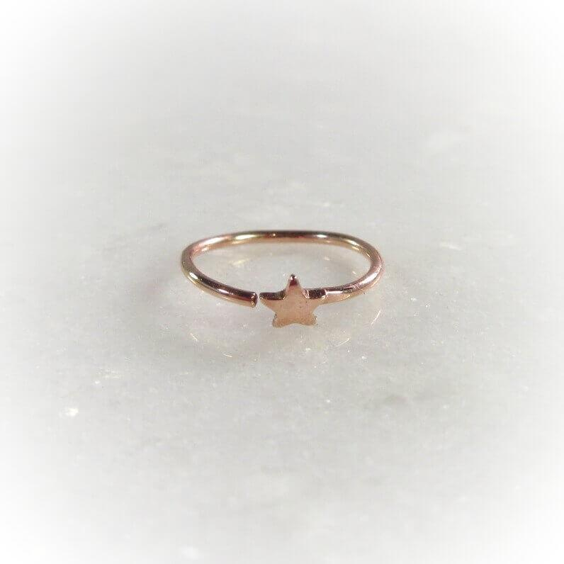 tiny pink gold star nose ring