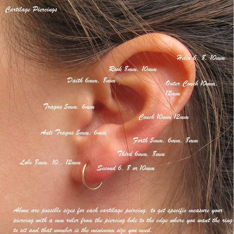 cartilage earring beaded & wrapped size guide