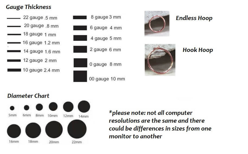 12 gauge plain endless hoop earrings information chart