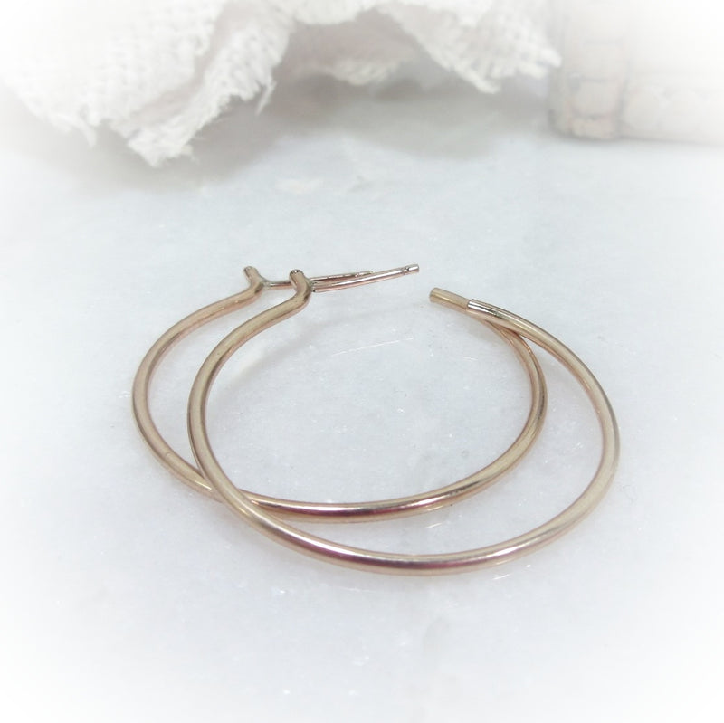 gold post hoop earrings with bar