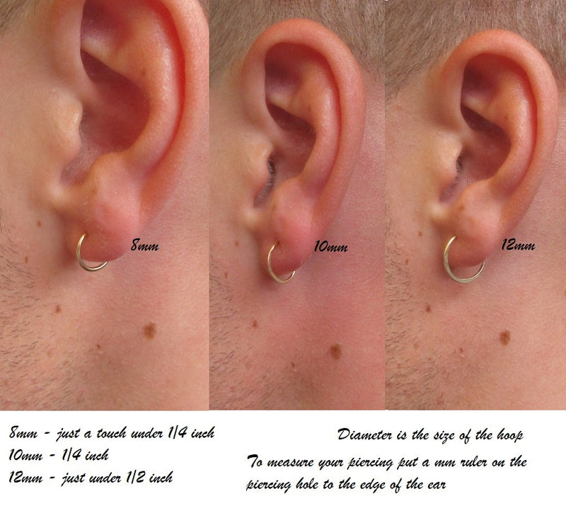 12 gauge plain endless hoops mens size chart
