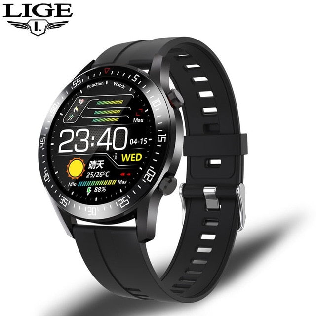 LIGE Smart Watch Men smartwatch LED Full Touch Screen For Android iOS Heart Rate Blood Pressure Monitor Waterproof Fitness Watch