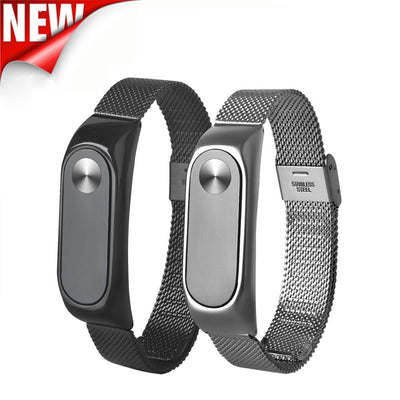 Lightweight Stainless Steel Wristband Watch Smart Wrist Bracelet Soft Band Strap Adjustable Replacement For Xiaomi Miband 2**
