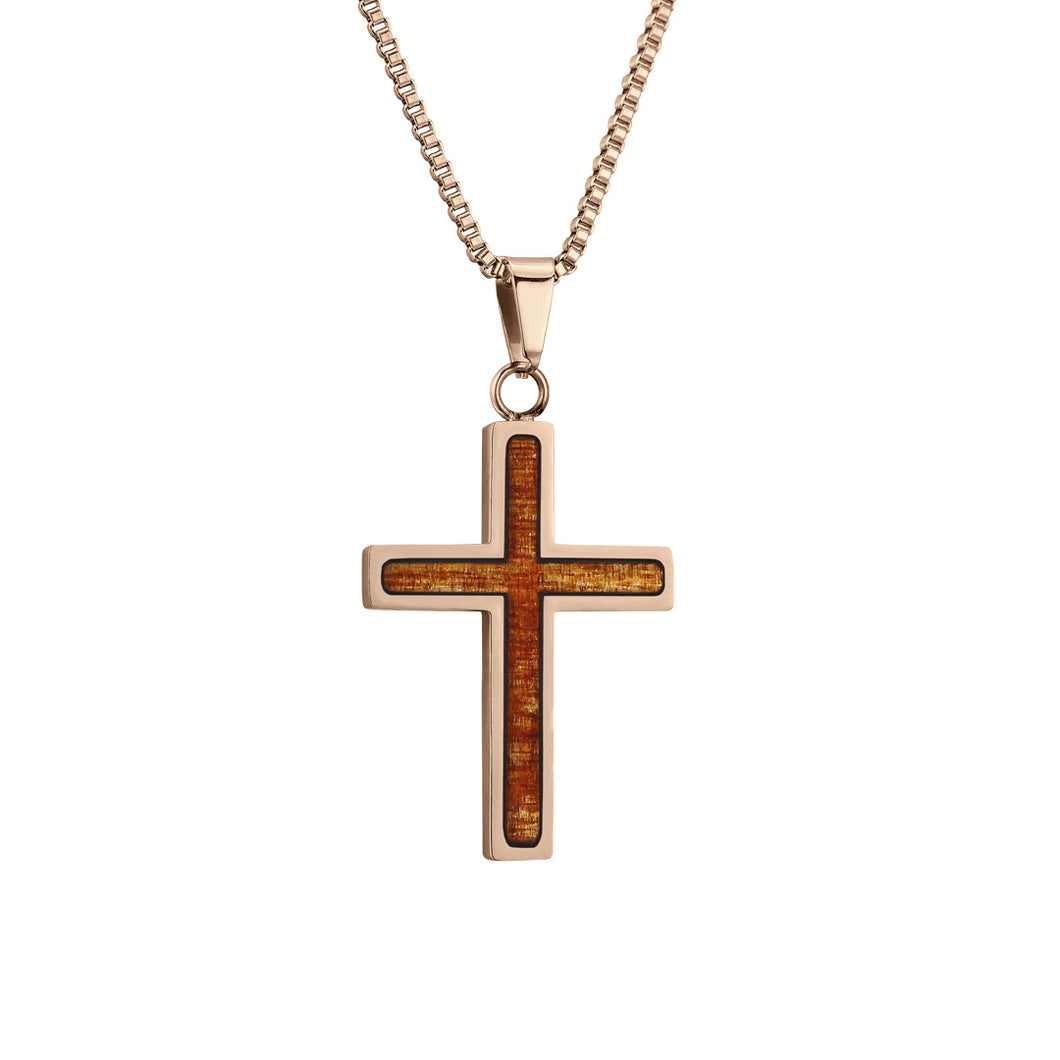 Ancient Kauri Cross Pendant - Rose Gold