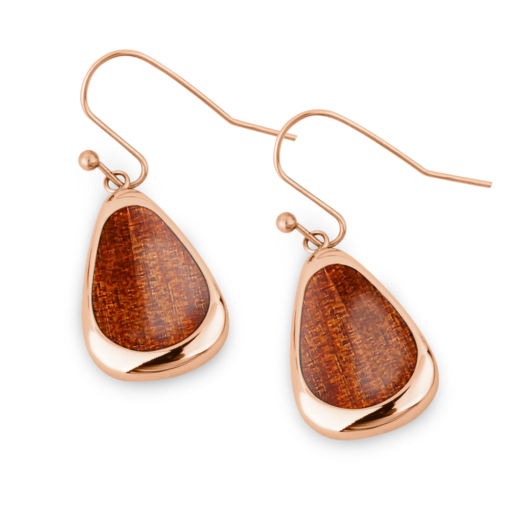 Ancient Kauri Drop Earrings - Rose Gold