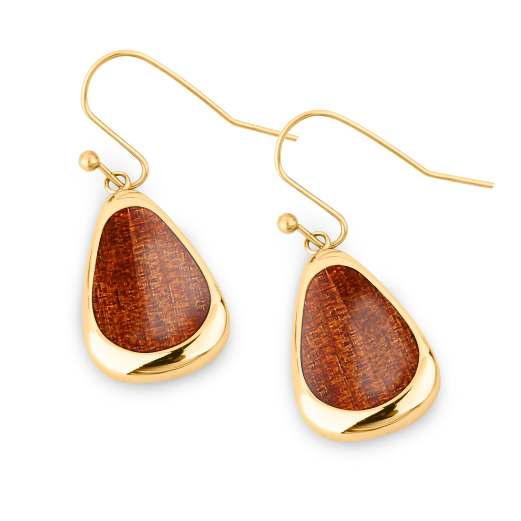 Ancient Kauri Drop Earrings - Yellow Gold