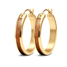 Load image into Gallery viewer, Ancient Kauri Hoop Earrings - Yellow Gold