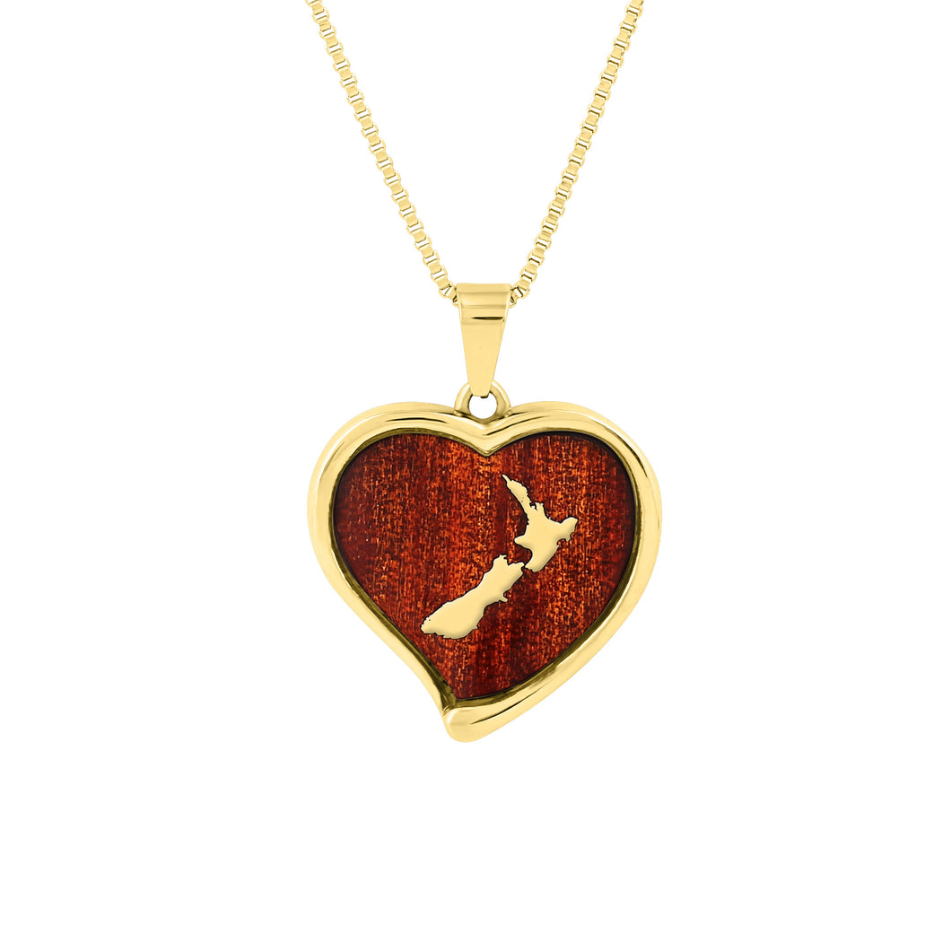 Ancient Kauri Heart Pendant - Yellow Gold