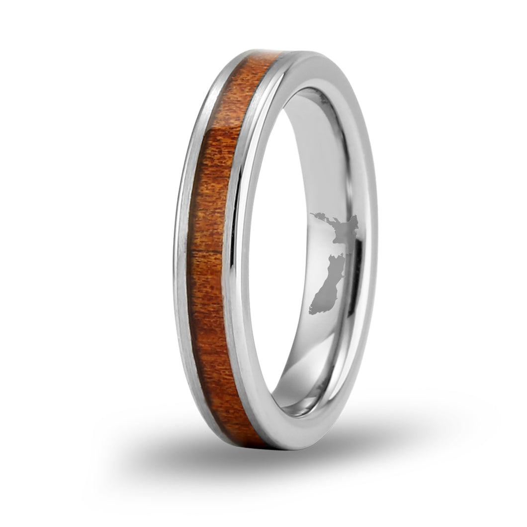 Ancient Kauri Thin Tungsten Ring - Brushed