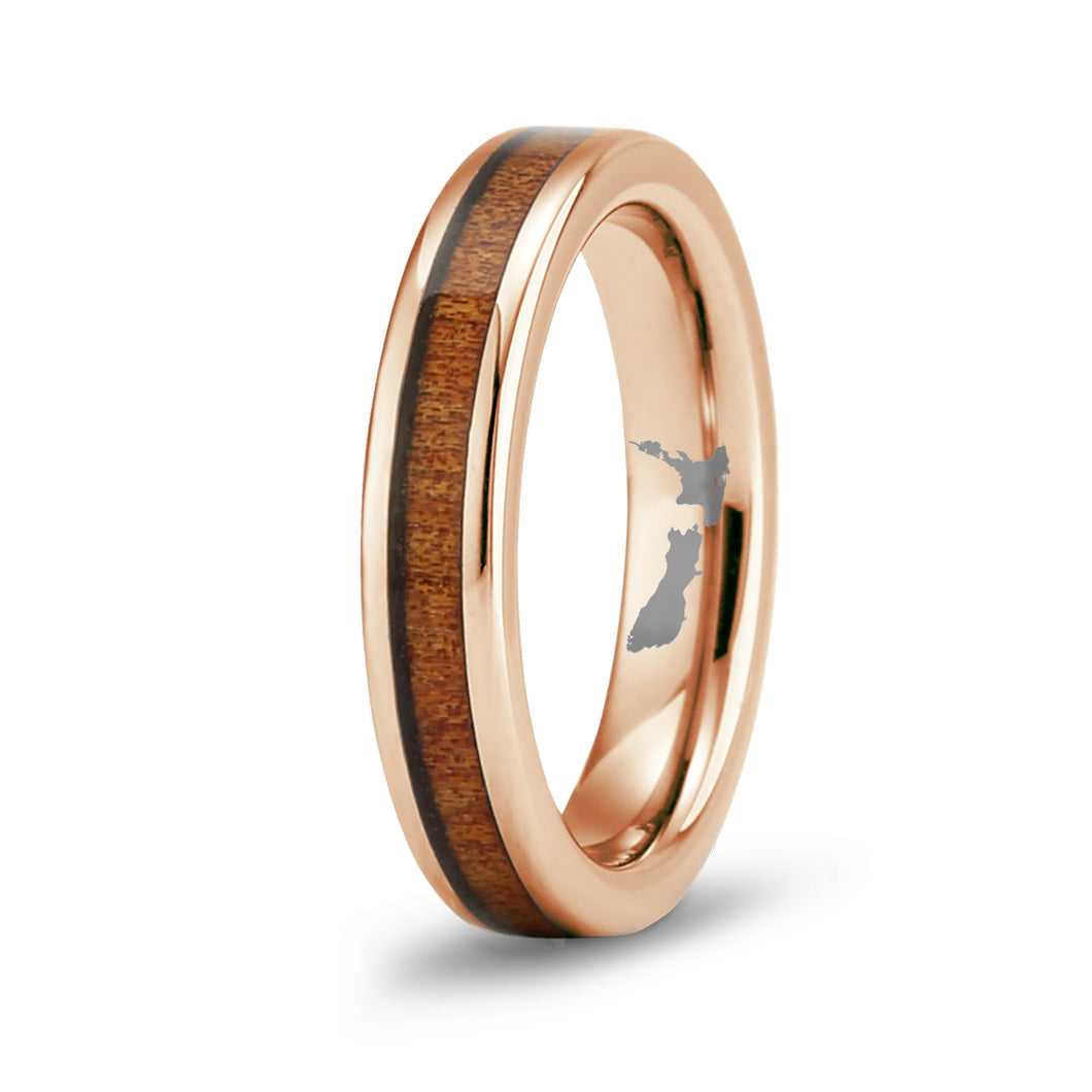 Ancient Kauri Thin Tungsten Ring - Rose Gold