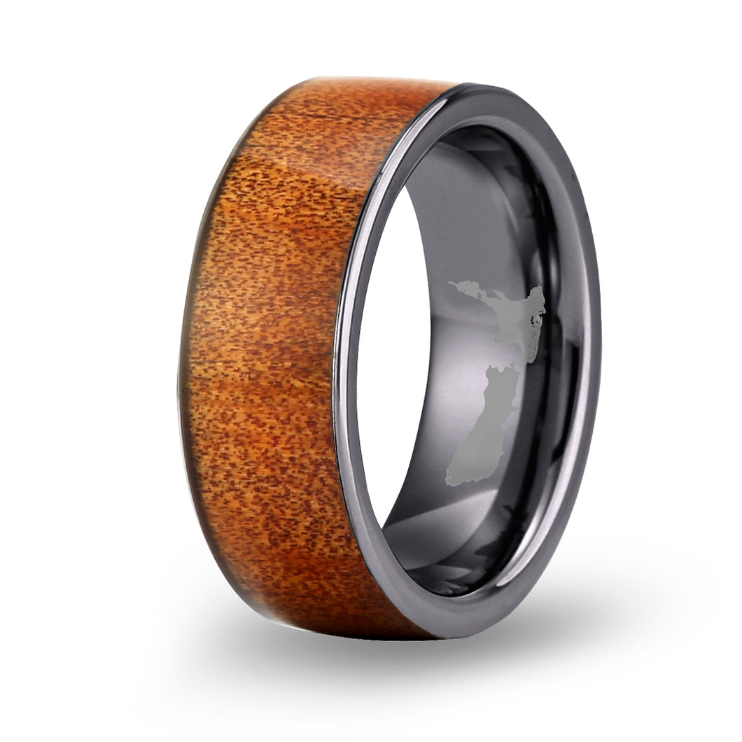 Ancient Kauri Wide Tungsten Ring - Gunmetal