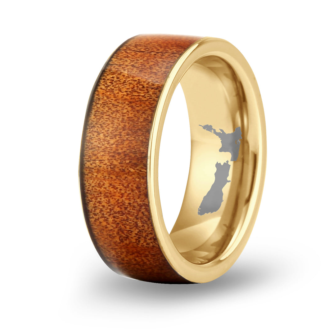 Ancient Kauri Wide Tungsten Ring - Yellow Gold