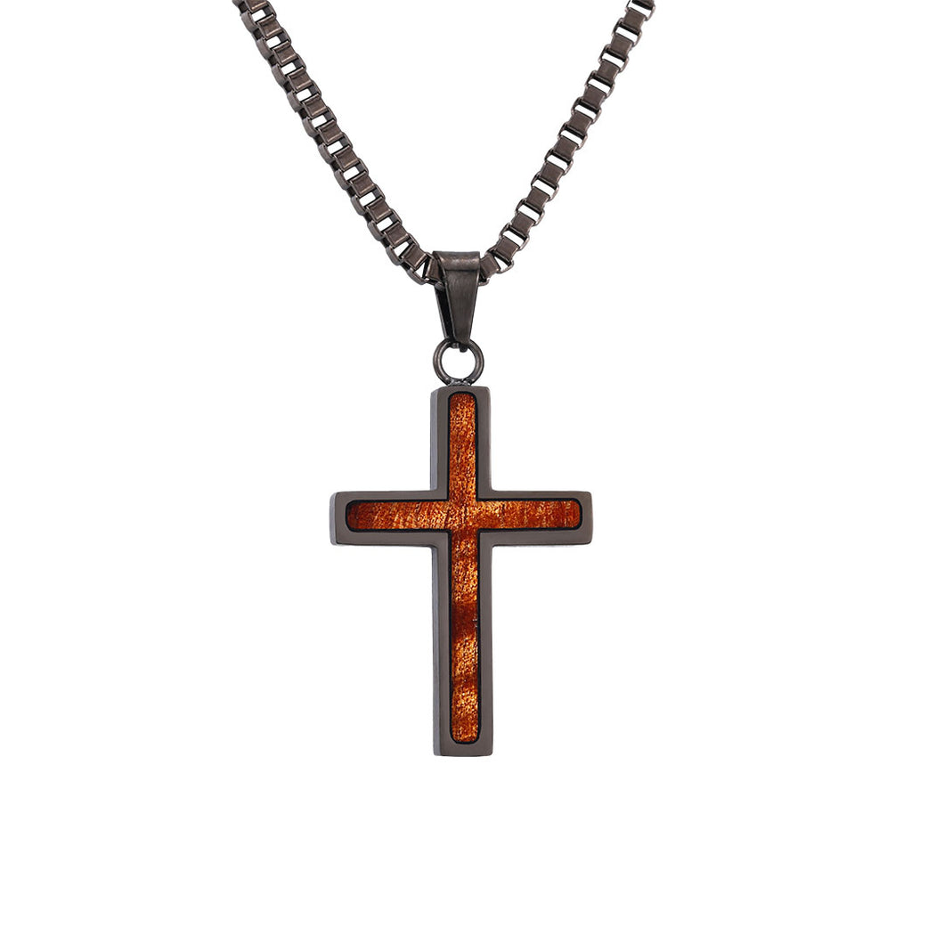 Hawaiian Koa Cross Pendant - Gunmetal