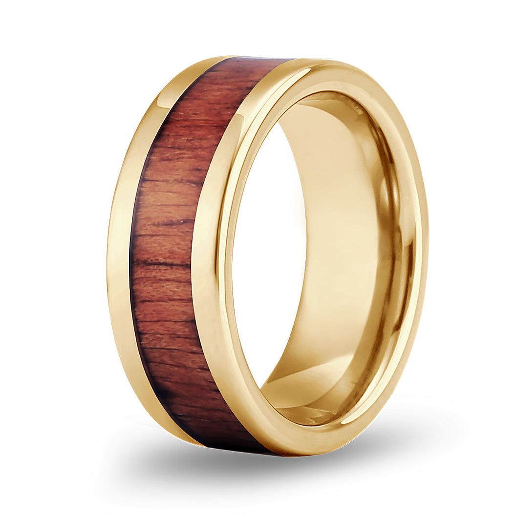 Hawaiian Koa Classic Tungsten Ring - Yellow Gold
