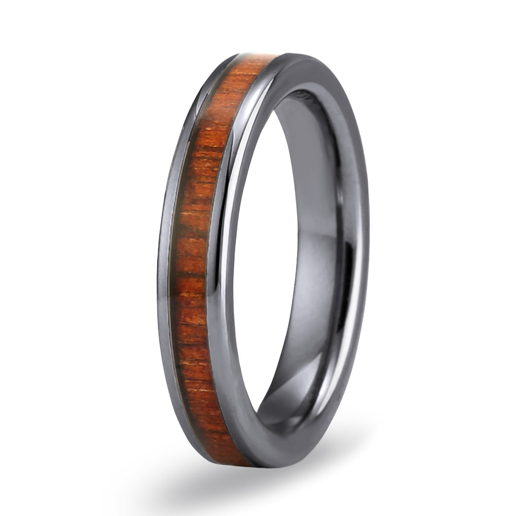 Hawaiian Koa Thin Tungsten Ring - Gunmetal