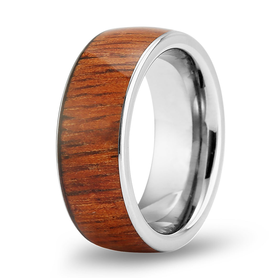 Hawaiian Koa Wide Tungsten Ring