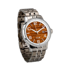 Load image into Gallery viewer, Hawaiian Koa Watch Stainless Steel Band White Bezel – Men's