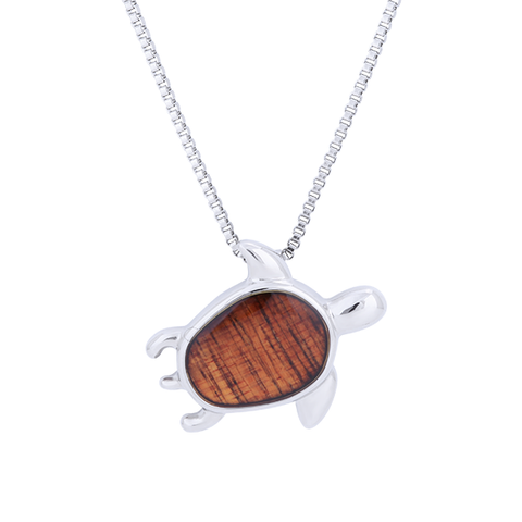Hawaiian Koa Wood Turtle Necklace