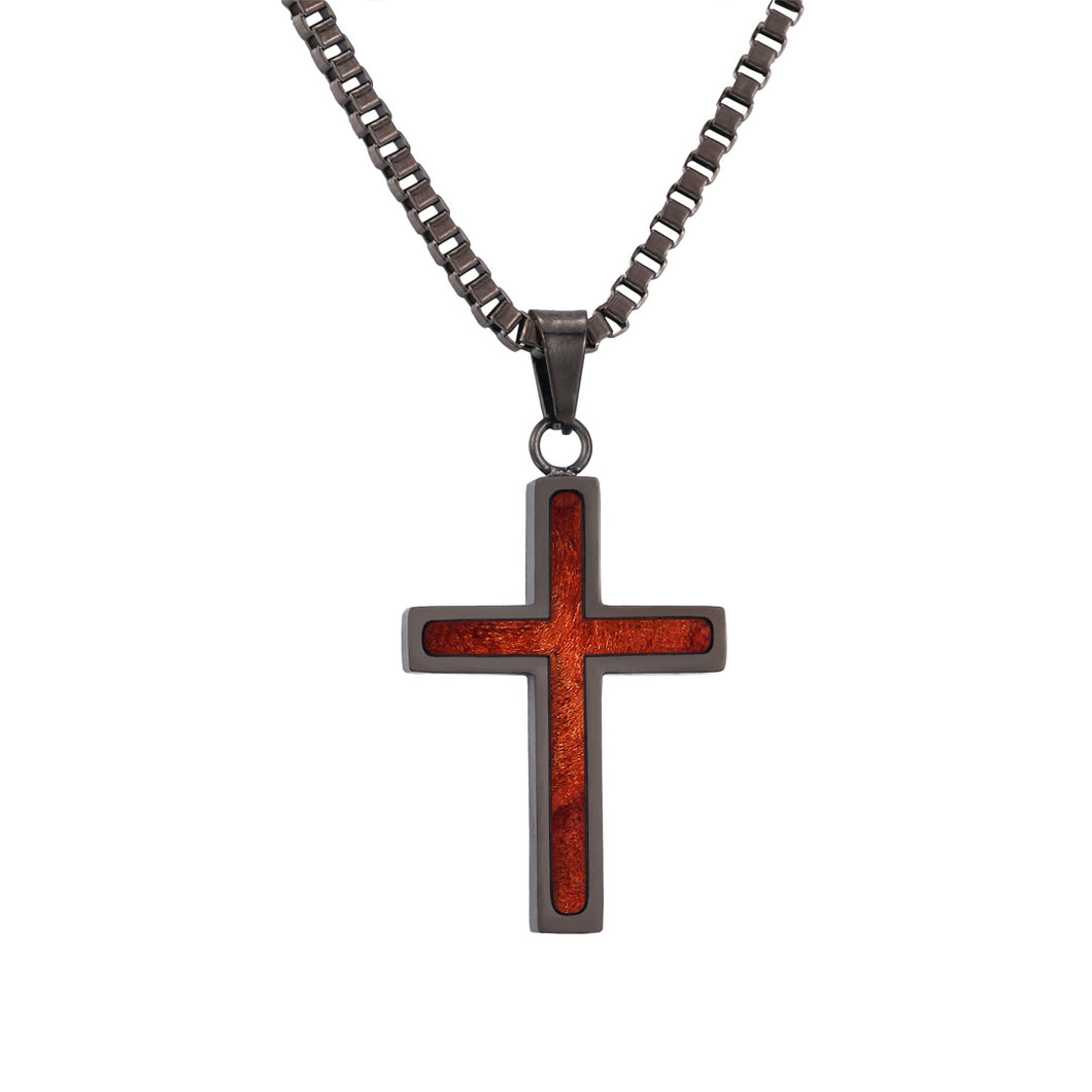 Redwood Cross Pendant - Gunmetal