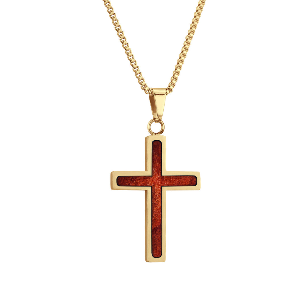 Redwood Cross Pendant - Yellow Gold