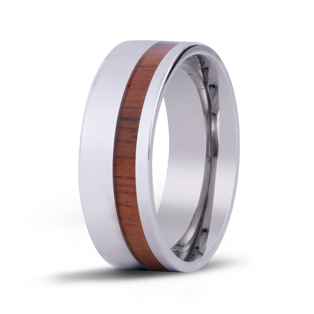 Koa Offset Titanium Ring